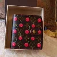 AUTH MiNT LOUIS VUITTON CHERRY CERISE COMPACT ZIP COIN WALLET RED MURAKAMI