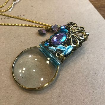 OOAK Gift for Mom Handmade magnifying glass necklace Spectacle Blue & Gold Artist Made by Hand