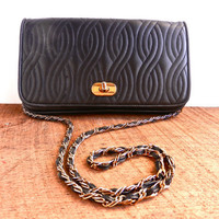 Vintage Black Leather Chain Purse Genuine Leather by MaejeanVINTAGE