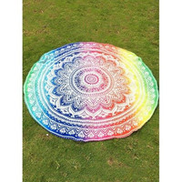 Colorful Lotus Flower Chiffon Round Beach Throw