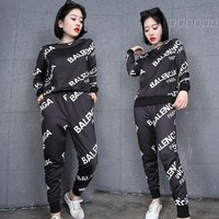 Balenciaga Fashion Print Long Sleeve Shirt Top Tee Pants Trousers Set Two-Piece