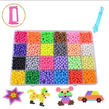 Bbay Toys Water Beads 24 Color Sticky Perler Beads Pegboard Set Fuse Beads Jigsaw Water Beads Bond Toy Puzzle