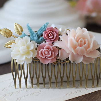 Large Wedding Floral Collage Hair Comb. Gold Leaf Dusky Blue Ivory Pink Flowers Hair Comb. Antique Bronze Filigree Comb. Wedding Bridal Comb