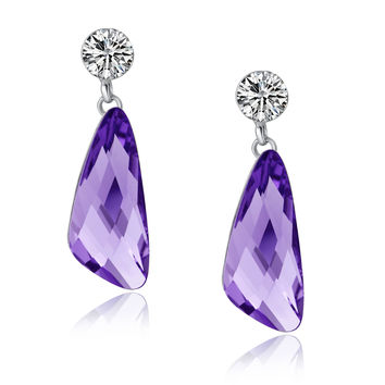 Wing Drop Swarovski Elements Crystal and Cubic Zirconia Dangle Earrings - Purple