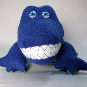 Vincent the partially upcycled Crocodile, blue, stripe, fleece, plush