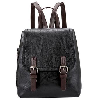 School Backpack trendy 2018 New Girls Backpack Vintage Solid Women Student Pure Color Leather  Women Travel Backpack AT_54_4