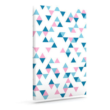 "Project M ""Triangles Pink"" Blush Blue Outdoor Canvas Wall Art"