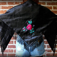 SALE Vintage Embroidered Satin Triangular Piano Shawl
