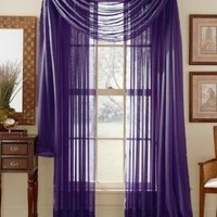 Elegant Comfort® 2-Piece SHEER PANEL with 2inch ROD POCKET - Window Curtains 60-inch width X 84-inch Length - Purple