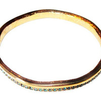 Green Rhinestone Bangle Bracelet Gold Metal Curved Abstract Design Vintage Fashion