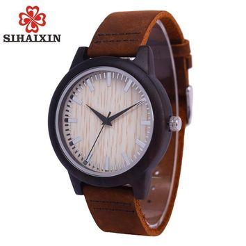 SIHAIXIN Minimalist Wooden Watch Male Bamboo Clock Leather Men White Quartz Watches As Man Luxury