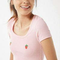 Lazy Oaf Strawberry Fitted Tee | Urban Outfitters