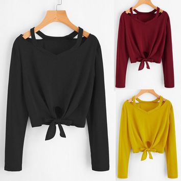 Women Bow Blouse TShirt Tops Long Sleeve Hollow Out V-Neck Casual T-Shirt Blouse