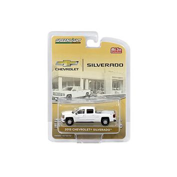 2015 Chevrolet Silverado Pickup Truck White with Tow Hitch and Tool Box Limited Edition to 2400pcs 1/64 Diecast Model Car by Greenlight