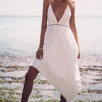 White V-Neck Asymmetric Chiffon Dress
