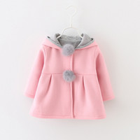 Autumn Winter Baby Girls Infants Kids Ball Cute Rabbit Hooded Princess Jacket Coats Outwears Christmas Gifts Roupas Casaco 2016