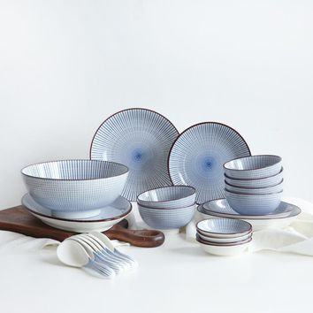 Creative Ceramic bowl dishes pure color tableware Package cutlery set dinnerware
