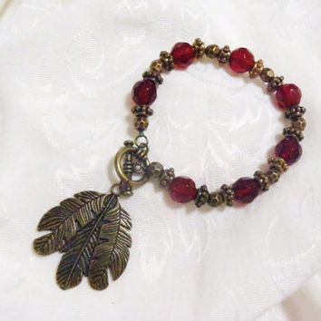 Florida State FSU Garnet and Gold bracelet - large feather charm with antiqued gold beads and faceted garnet crystals
