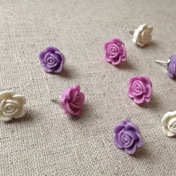 decorative push pins, set of 9, lavender and lilac, vintage style, office decor, dorm decor, girls room, hostess gift, cork bulletin board