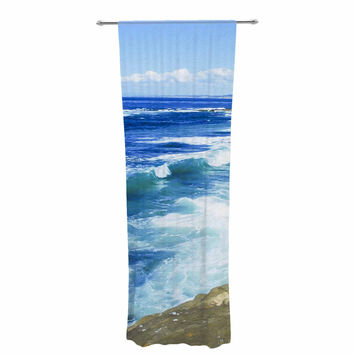 "Nick Nareshni ""Beach Playground"" Blue White Decorative Sheer Curtain"
