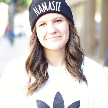 Embroidered Namaste Beanie - Namaste Beanie - Namaste - Yoga Beanie - Yoga - Yoga Clothes Women- Yoga Accessories - Yoga Clothes - Yoga Gift
