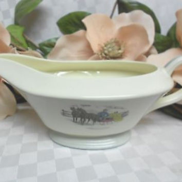 American Limoges, China Dinnerware New Yorker Currier & Ives Gray Gravy Boat