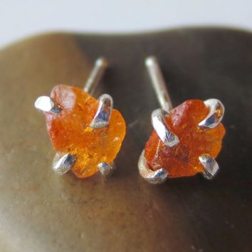Raw Mandarin Garnet Earrings | Rough Orange Garnet Earrings