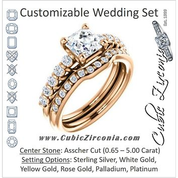 CZ Wedding Set, featuring The Alaia engagement ring (Customizable 11-stone Asscher Cut Style with Round Bar-set Accents)