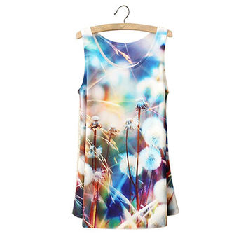 Dandelion Print Sleeveless Top
