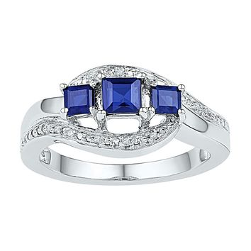 Sterling Silver Womens Princess Lab-Created Blue Sapphire 3-stone Ring 7-8 Cttw