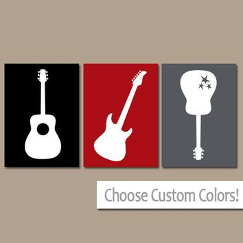 Red Black Gray GUITAR Wall Art, Music Theme Nursery Boy Bedroom Pictures, CANVAS or Prints  Music Art Rock N Roll Rock and Roll Set of 3