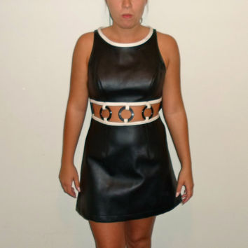 60s look vintage Faux Leather Go Go Dancer Short Party Cut- Out Dress, 1960s, Mod Dress