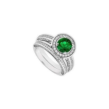 14K White Gold Emerald & Diamond Engagement Ring with Wedding Band Sets 1.55 CT TGW