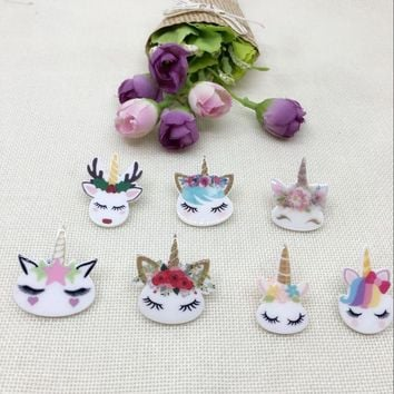10pcs/lot Cartoon Unicorn Flat Back Resins For Hair Bow Accessories Kawaii Horse Planar Resin DIY Craft Decorations
