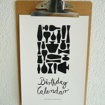 "Perpetual Birthday Calendar,DIY,Printable PDF Calendar,Handmade Birthday Calendar ""Black&White Vases"",Scandinavian Style with Calligraphy"