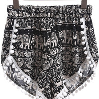 Black Elastic Waist Elephant Print Ball Embellished Shorts