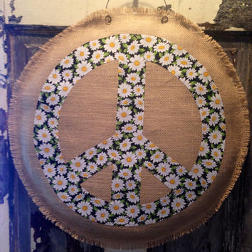 Burlap Peace Sign Door Hanger