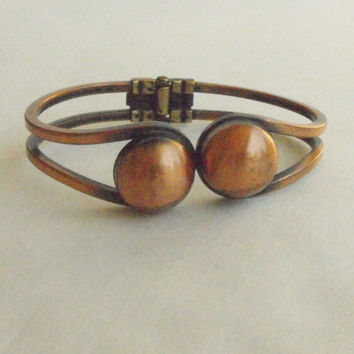 Modernist Copper Hinged Clamper Bracelet Vintage 1950s Jewelry