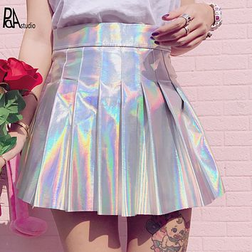 Silver Rainbow Laser Holographic Gothic Harajuku Bling Shiny High Waist Pleated Skirt,Japan Korean Sailor Student Goth Vestidos