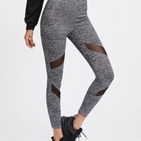 Leggings  Mesh Insert Knit Leggings