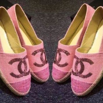 """Chanel"" Ladies Casual Logo All-Match Sequin Weave Canvas Flats Pink Shoes"