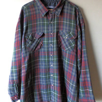 Vintage Big/Tall Winter Weight Plaid Weave Button Down - Size  4XLT