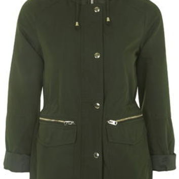 Double Zip Lightweight Jacket - Khaki