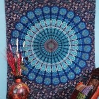 Handicrunch Indian Droplet Style Twin Hanging Tapestry - Floral block print wall hanging
