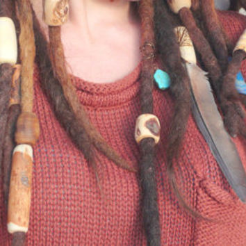 Wooden beads: petite bead set for dreadlocks, hair and braid, dreadwear, 9 handmade hippie natural wood beads, bohemian hippie accessoiry