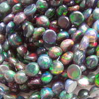 Ethiopia Black Opal Smooth Round Drilled Cabochon Beads, One side is doom, one side is flat, 1/2 strand - 20% sale
