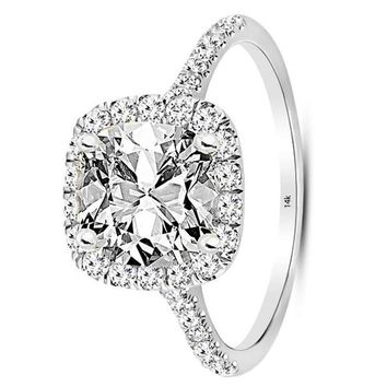 .1.69 Carat GIA Certified 14K White Gold Halo Cushion Cut Diamond Engagement Ring (0.94 Ct F Color VS1 Clarity Center)