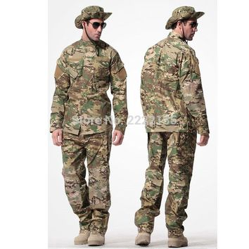 US Army Tactical Military Camouflage Combat Uniform Airsoft Camo BDU Men Clothing Set Outdoor Hunting suits CP S-XXXL