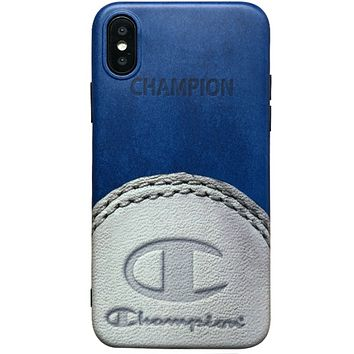 Champion Fashion New Letter Leather Women Men Protective Case Phone Case