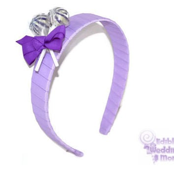 Purple Lollipop Headband , Purple Headband, Candy Headband, Flowergirl Accessory, Lollipop Wedding, Birthday, Edible Accessory,  Sweet 16